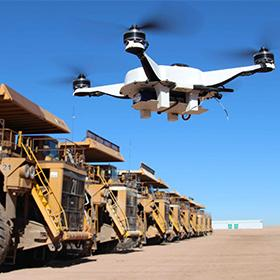 Drone equipped with sensors at mine site