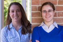 Spring 2016 Outstanding Senior Mara Erhardt and Spring 2016 Outstanding Graduate Student Karen Roth