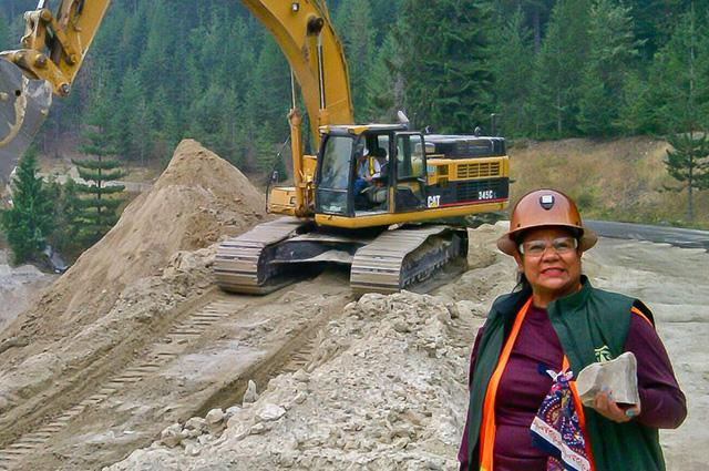 Ana Ingstrom, UA alumna and the first woman to receive a mining engineering degree in Mexico, examines a rock during a day on the job as a mining engineer for the U.S. Forest Service in Colorado.