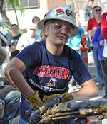 Allison Hagerman at UA jacklag drilling competition. Photo by Patrick McArdle/UANews