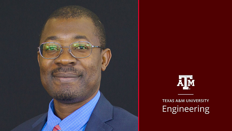Photo of Lewis Ntaimo with the Texas A&M University Engineering logo on the right of the image.