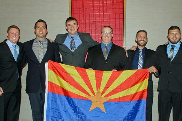 The SME student team celebrates in Minneapolis. Left to right: Nathan Kraft, Miguel Pugmire, Garrett Anderson, Sean Klasen, Christopher Deuel and Jorge Loya Lopez.