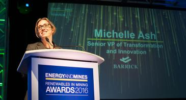 Michelle Ash delivers the keynote speech from the podium at the 2016 Energy and Mines Renewables in Mining Awards